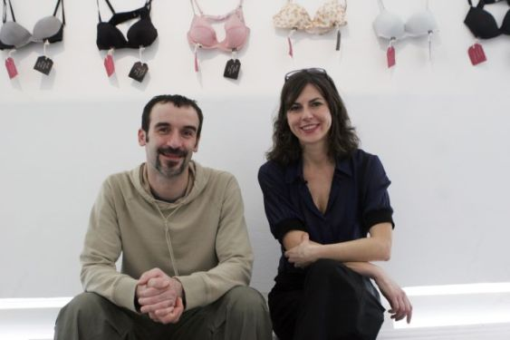 "Concept founders of the ""Museum of Broken Relationships"" exhibition Olinka Vistica and Drazen Grubisic pose in Singapore"