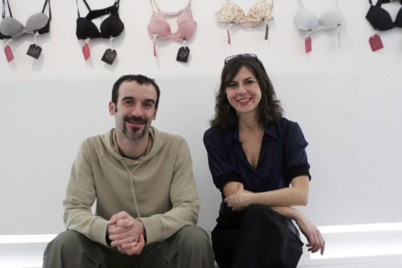 """Concept founders of the """"Museum of Broken Relationships"""" exhibition Olinka Vistica and Drazen Grubisic pose in Singapore"""