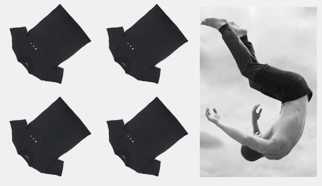 Diving heart black tee jump